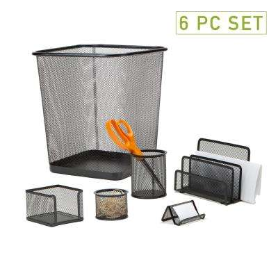 Metal Mesh Desk Organizer Set with Trash Can in Black (6-Pieces)
