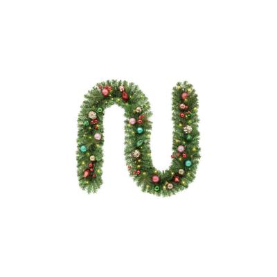 9 ft. Fantasleigh Battery Operated Pre-Lit LED Artificial Christmas Garland