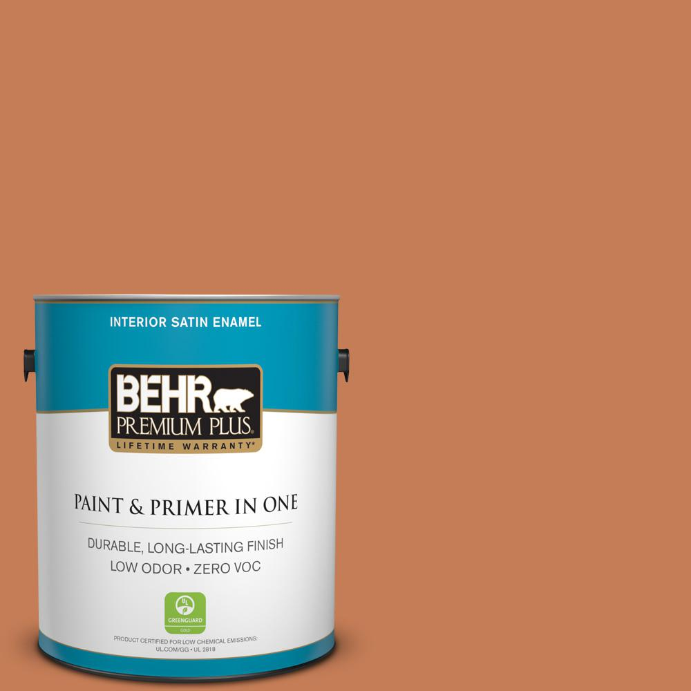 1 gal. #M210-6 Orange Liqueur Satin Enamel Zero VOC Interior Paint