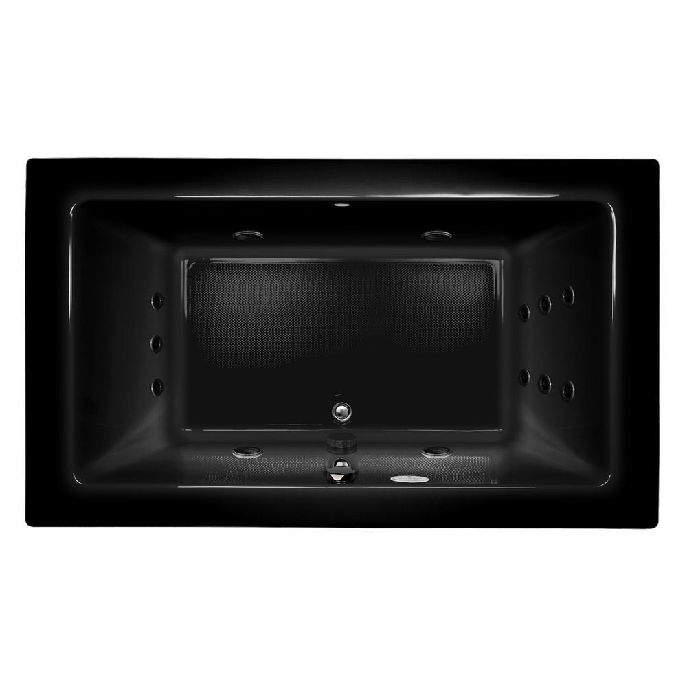 SIA 72 in. x 42 in. Acrylic Right-Hand Drain Rectangular Drop-In Whirlpool Bathtub in Black