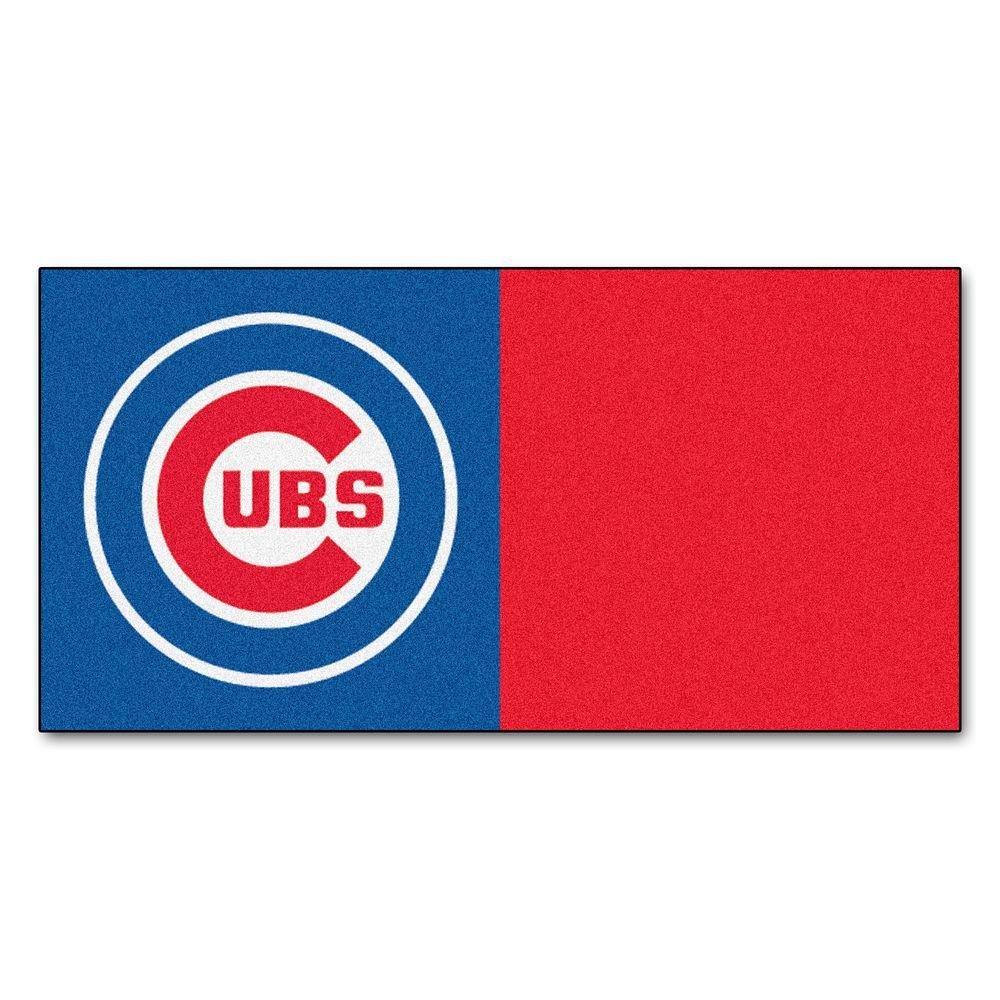 FANMATS MLB - Chicago Cubs Blue and Red Nylon 18 in. x 18 in. Carpet Tile (20 Tiles/Case)