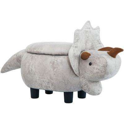 Animal-like Gray Fabric Top Storage Ottoman