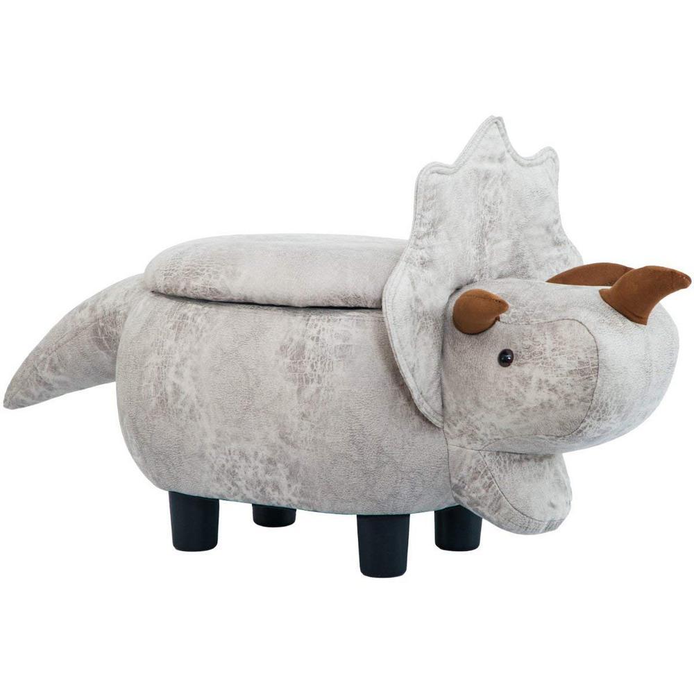 Grey Dinosaur Animal Storage Ottoman Footrest Stool