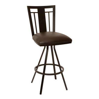 Cleo 30 in. Coffee Faux Leather and Auburn Bay Finish Transitional Barstool