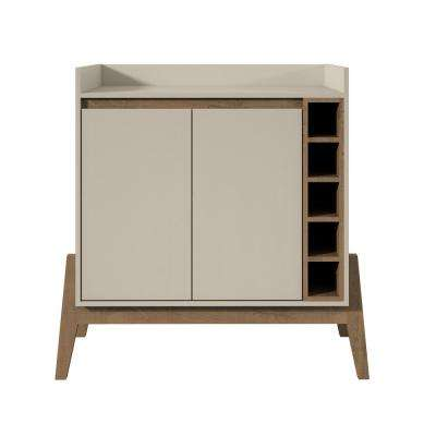 Essence Off White and Oak 5-Bottle Wine Buffet Stand