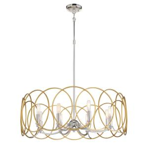 Chassell 8-Light Honey Gold with Polished Nickel Pendant