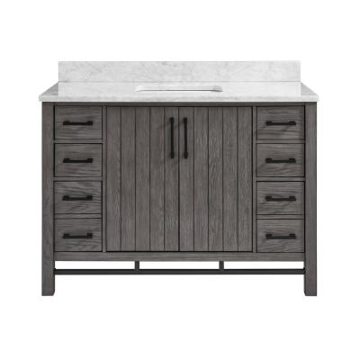 Stanbury 48 in. W x 22 in. D Vanity in Cashmere with Carrara Marble Vanity Top with White Basin