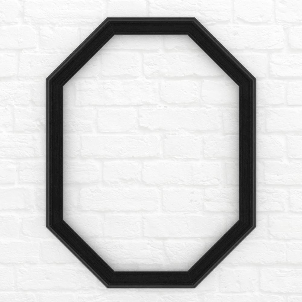 26 in. x 34 in. (M2) Octagonal Mirror Frame in Matte Black