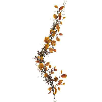 4 ft. Fall Foliage, Berries and Twig Artificial Garland