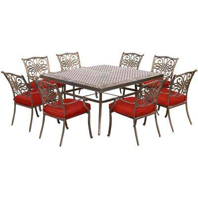 Traditions 9-Piece Aluminum Square Outdoor Dining Set with Red Cushions