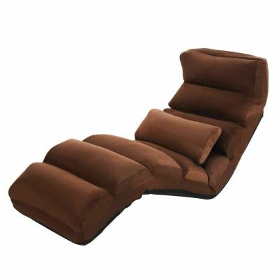 22 in. Brown Cotton Adjustable Floor Lounge Chair with Square Arms