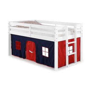 Jasper Twin Junior Loft Bed, White Frame and Blue/Red Playhouse Tent