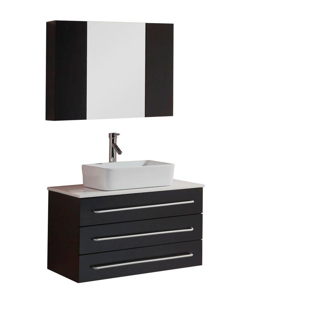 Virtu USA Ivy 32 in. W x 22 in. D Vanity in Espresso with Stone Vanity Top in White with White Basin and Mirror