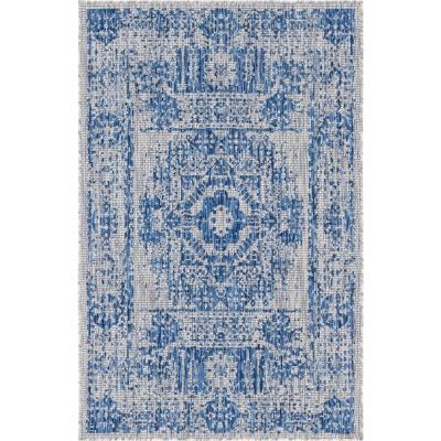 Azure Blue Timeworn Outdoor 9 ft. x 12 ft. Area Rug