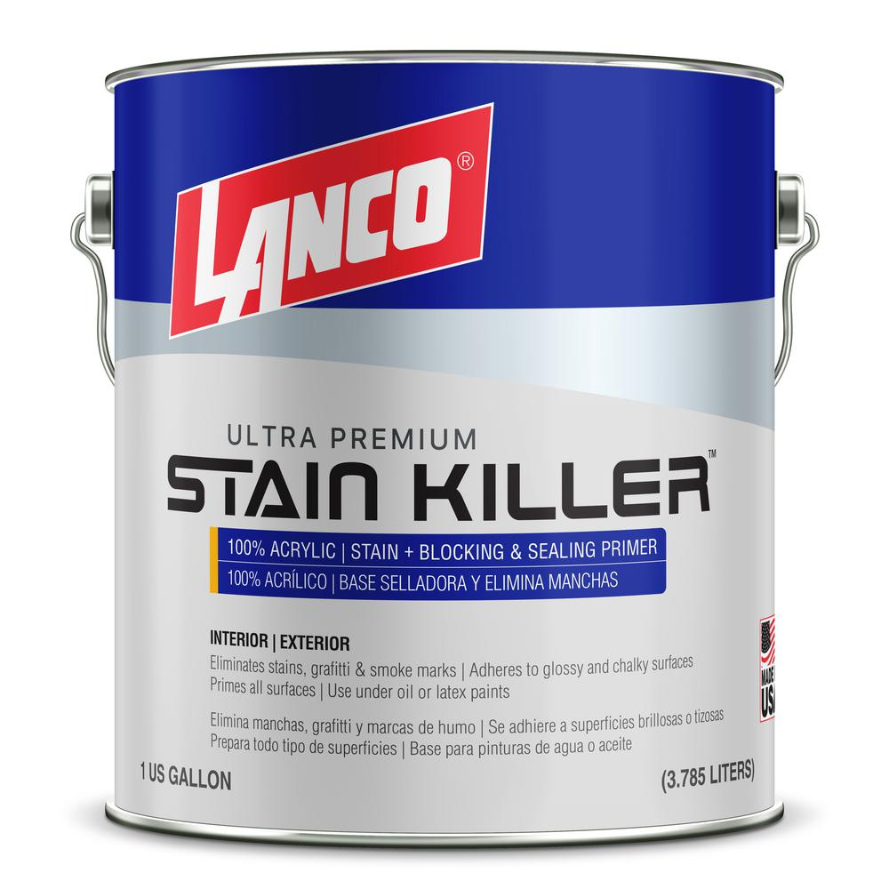 Lanco 1 Gal Stain Killer Ultra Premium White Interior Exterior 100 Acrylic Wall Primer With Heavy Stain Elimination Wp039 4 The Home Depot