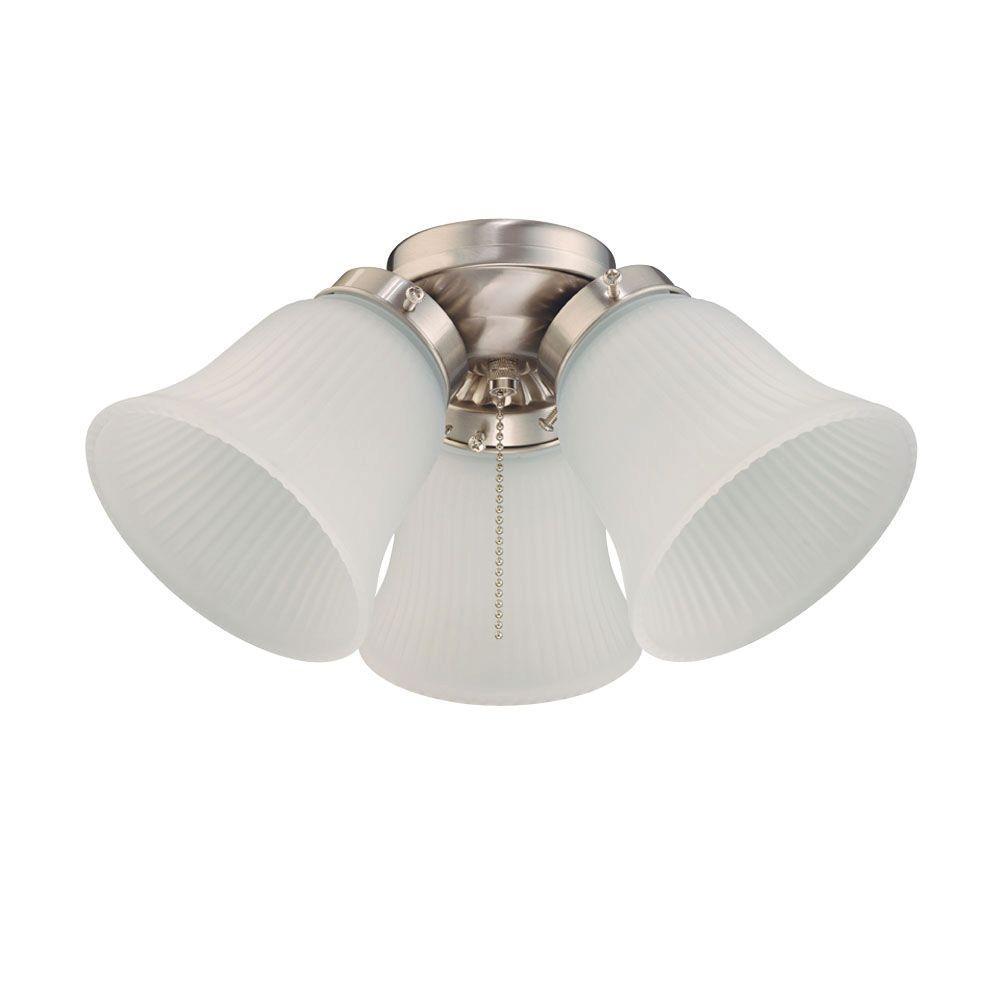 3-Light Brushed Nickel Ceiling Fan Light Kit