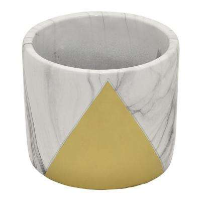 4.75 in. Marble Look Gold - Gold Flower Pot