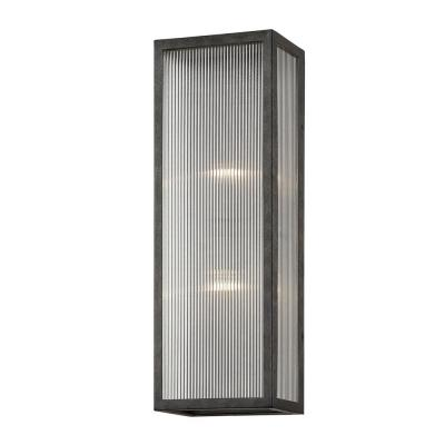 Tisoni 23 in. French Iron 2-Light Wall Sconce with Clear Ribbed Glass Shade