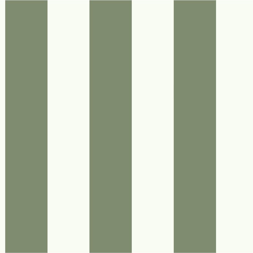 56 sq. ft. Light Green and White Awning Stripe Removable Wallpaper