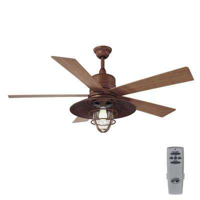 Metro 54 in. Indoor/Outdoor Rustic Copper Ceiling Fan with Light Kit and Remote Control