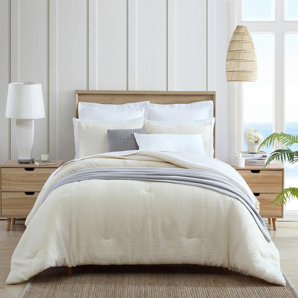 Whitaker Natural Beige 3-Piece Matelasse Cotton King Comforter/Sham Set