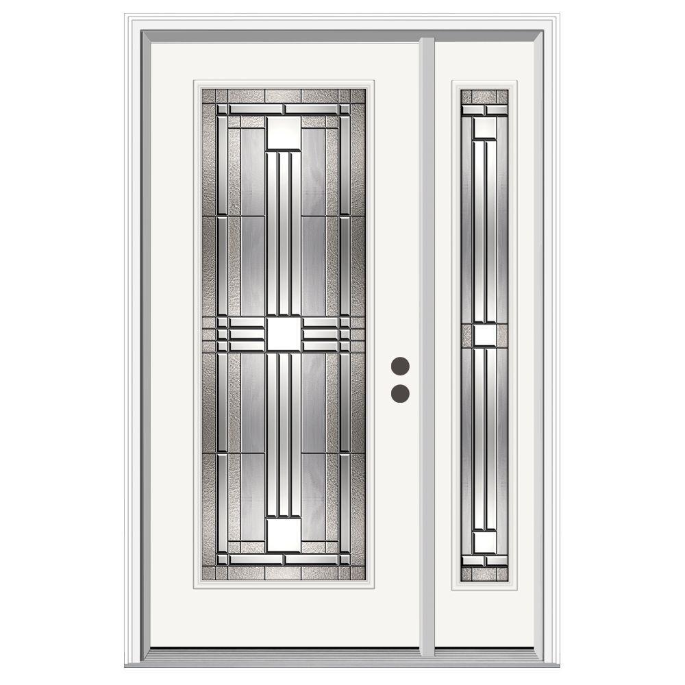 JELD-WEN 50 in. x 80 in. Full Lite Cordova Primed Steel Prehung Left-Hand Inswing Front Door with Right-Hand Sidelite