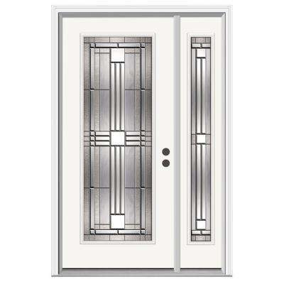 50 in. x 80 in. Full Lite Cordova Primed Steel Prehung Left-Hand Inswing Front Door with Right-Hand Sidelite