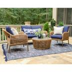 Terrell 4-Piece Wicker Seating Set with Navy Cushions