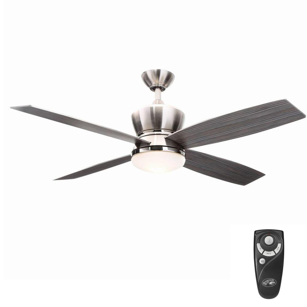 42nd Street 52 in. Indoor Brushed Nickel/Polished Nickel Ceiling Fan with