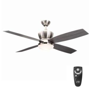 42nd Street 52 in. Indoor Brushed Nickel/Polished Nickel Ceiling Fan with Light Kit and Remote Control