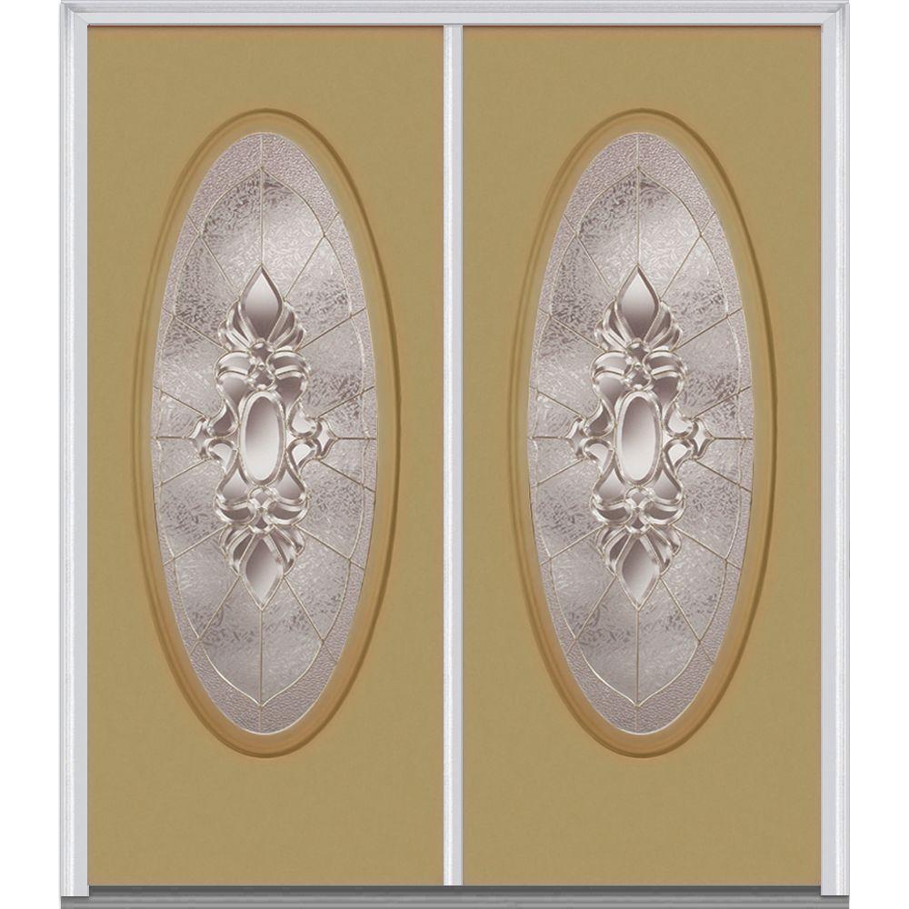 MMI Door 60 in. x 80 in. Heirloom Master Right-Hand Inswing Oval Lite Decorative Painted Fiberglass Smooth Prehung Front Door