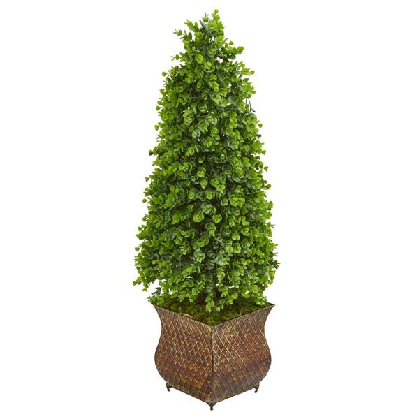 Indoor/Outdoor 41 Eucalyptus Cone Topiary Artificial Tree in Metal Planter