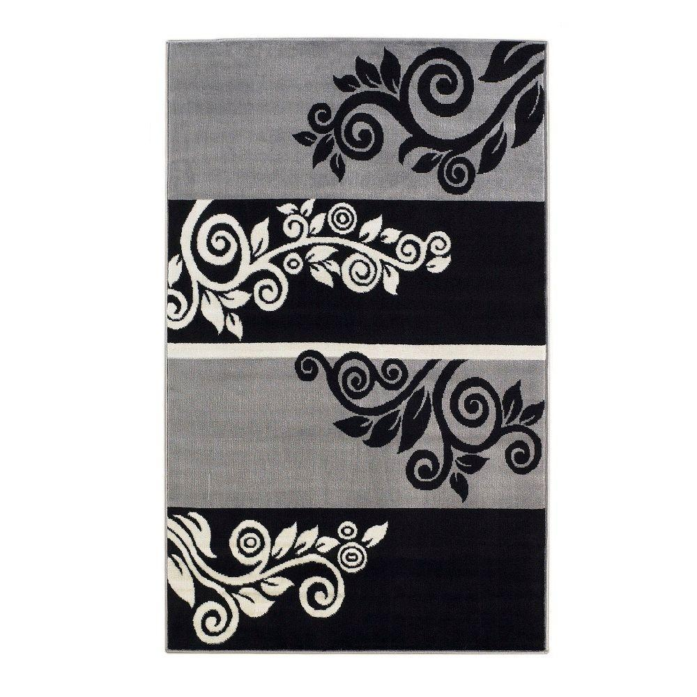 Linon Home Decor Capri Collection Black And Grey 4 Ft 3 In X 7 Ft 3 In Indoor Area Rug Rug