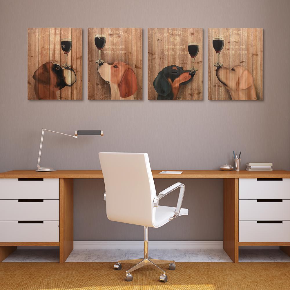 "Empire Art Direct ""Dog Au Vin Boxer, Beagle, Dachshund, Labrador"" Arte de Legno Digital Print on Solid Wood Wall Art"