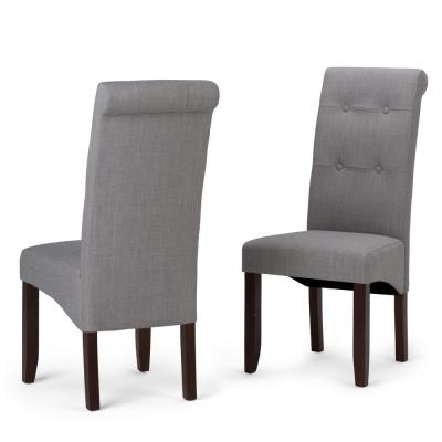 Cosmopolitan Contemporary Deluxe Tufted Parson Chair (Set of 2) in Dove Grey Linen Look Fabric