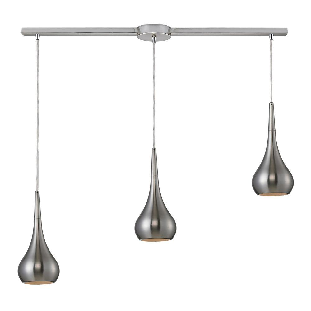 Titan Lighting Lindsey 3-Light Satin Nickel Ceiling Pendant