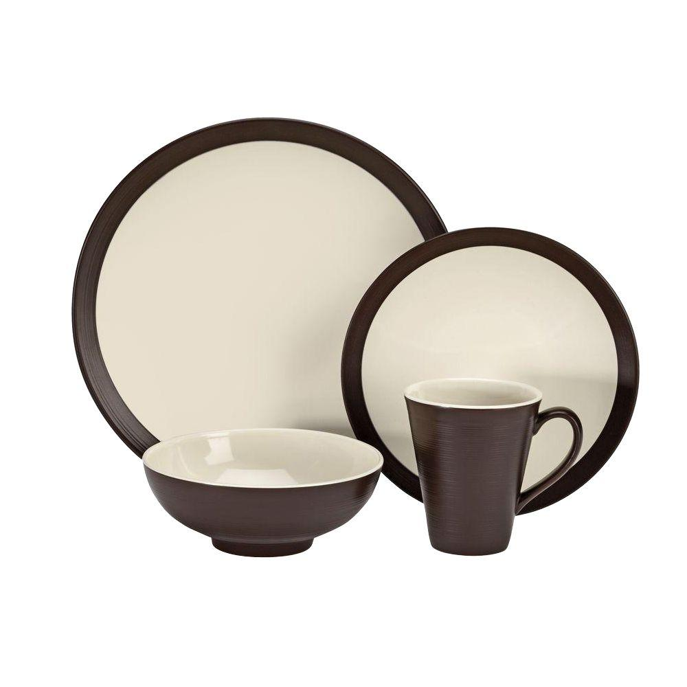Cuisinart Bailee Collection 16-Piece Dinnerware Set in Brown  sc 1 st  Home Depot : 16 piece dinnerware sets - pezcame.com