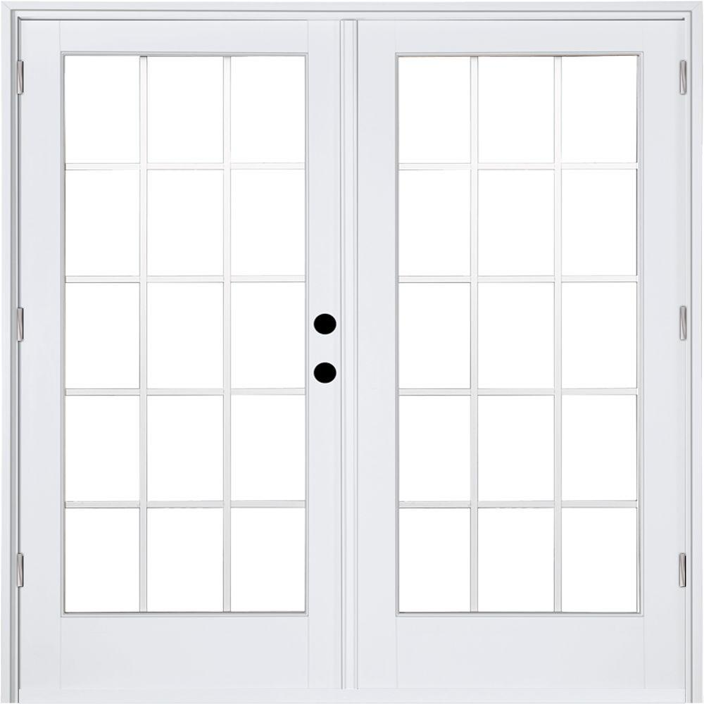 MP Doors 72 In. X 80 In. Fiberglass Smooth White Left Hand Outswing Hinged Patio  Door With 15 Lite GBG HT6068L002W3   The Home Depot