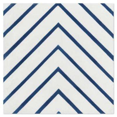 Labyrinth Berry Blue 7-7/8 in. x 7-7/8 in. Cement Handmade Floor and Wall Tile