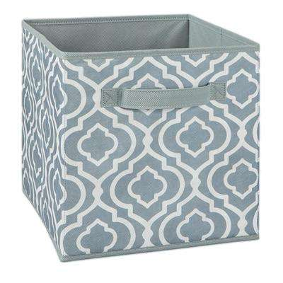 11 in. W x 11 in. H x 11 in. D Gray Iron Gate Print Fabric Drawer