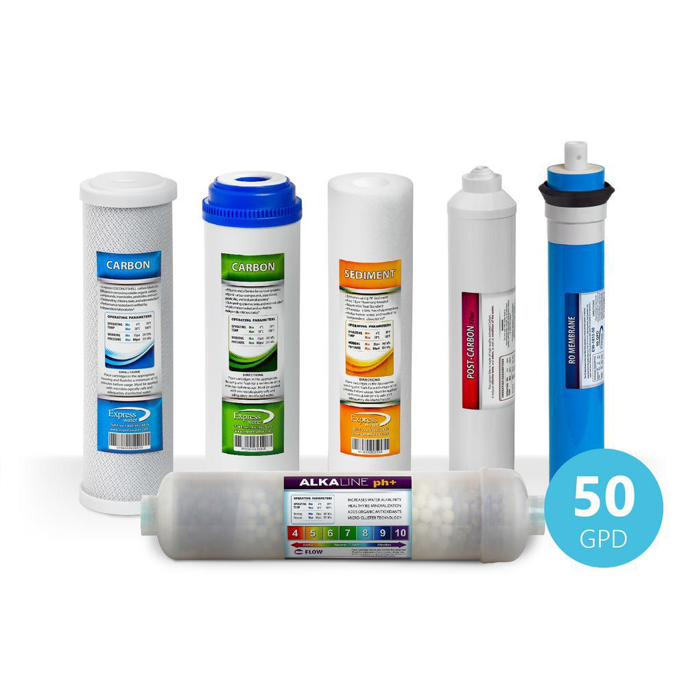 1 Year Alkaline Reverse Osmosis Set - 6 Filters w/ 50