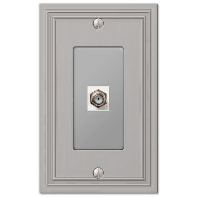 Hallcrest 1 Gang Coax Metal Wall Plate - Satin Nickel