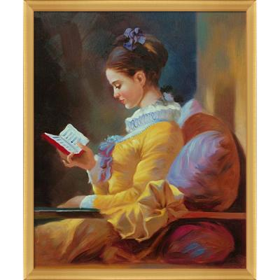 """""""The Reader with Piccino Luminoso Frame"""" by Jean-Honore Fragonard Oil Painting"""