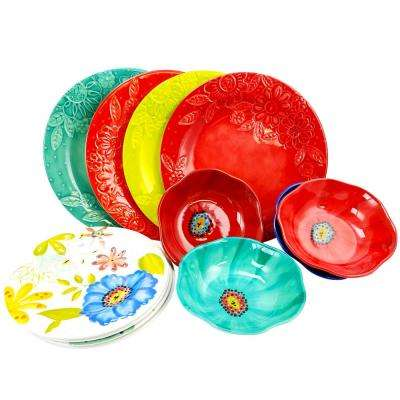 Flora 12-Piece Assorted Colors Dinnerware Set