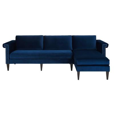 Nathaniel Navy Blue Reversible Chaise Sectional
