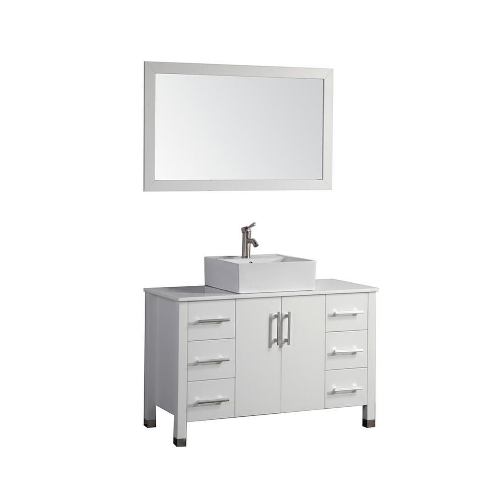 Aruba 48 in. W x 20 in. D x 36 in. H Vanity in White with Micro Stone Vanity Top in White with White Basin and Mirror