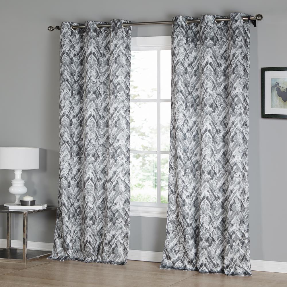 Neila 38 in. W x 96 in. L Polyester Window Panel in Grey