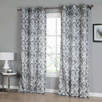 Neila 38 in. W x 96 in. L Polyester Window Panel in Grey