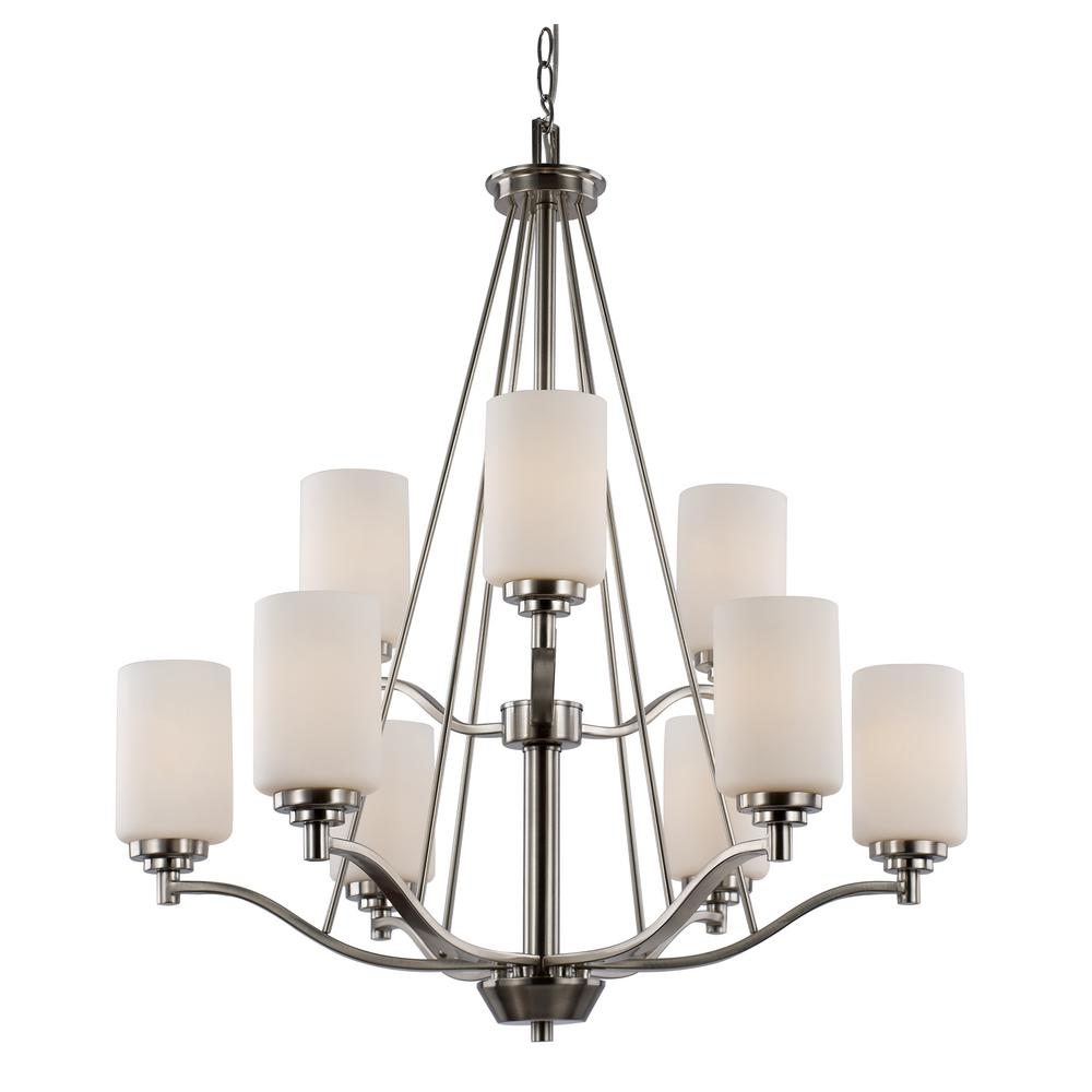 Bel Air Lighting Mod Pod 9-Light Polished Chrome Chandelier with Frosted Shades