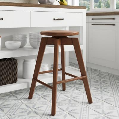 Amalia 25 in. Antique Coffee or Brown Backless Counter Height 360 Swivel Seat Solid Wood Kitchen Bar Stool